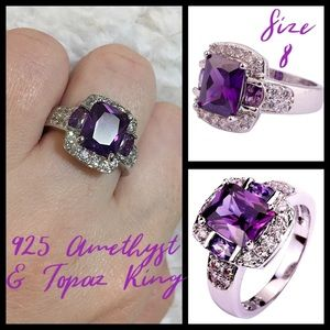 Jewelry - Amethyst & White Topaz 925 Cocktail Ring Sz 8 NEW!